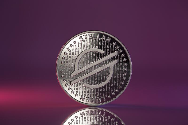 stellar-xlm-cryptocurrency-coin-purple-background-physical-placed-reflective-surface-lit-pink-lights-208090425